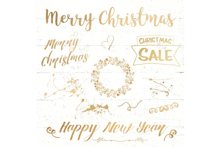 christmas text overlay lettering gold example image 1