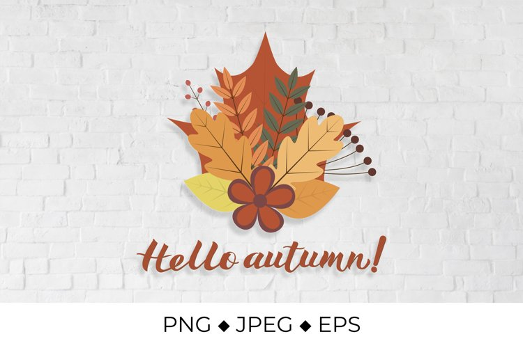 Hello Autumn lettering. Bunch with fall leaves and flowers example image 1