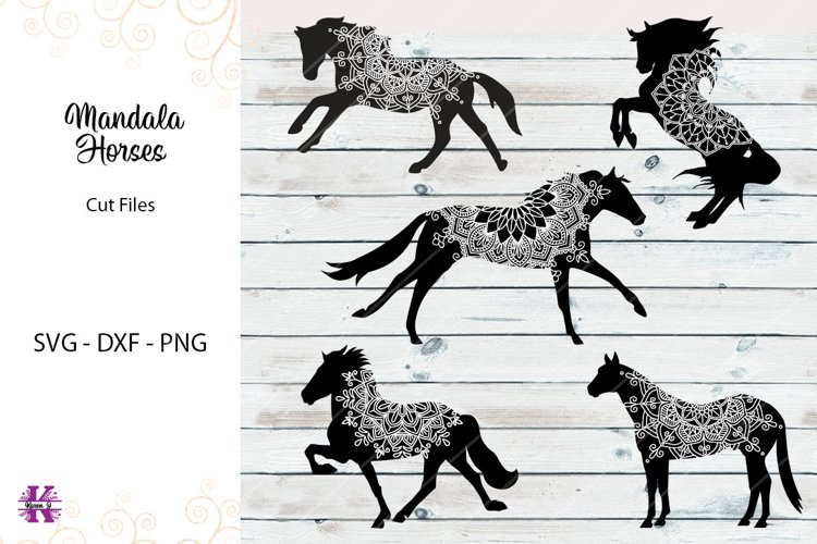 Mandala Horses- SVG DXF PNG Cut Files