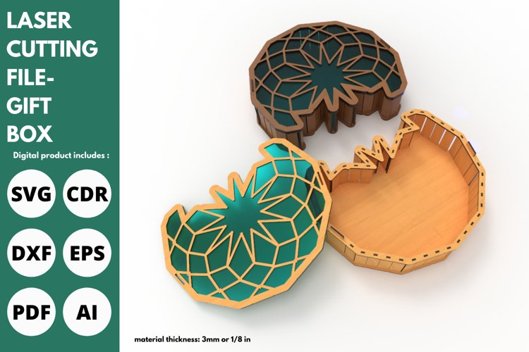 Gift Box - SVG - Laser cutting File example image 1
