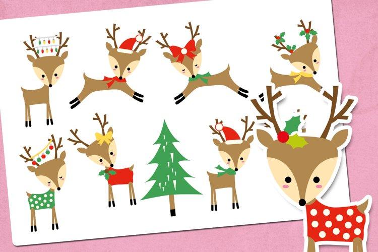 Christmas Reindeer Illustrations Clip Art