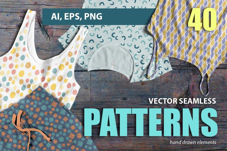 Vector seamless hand drawn colorful patterns