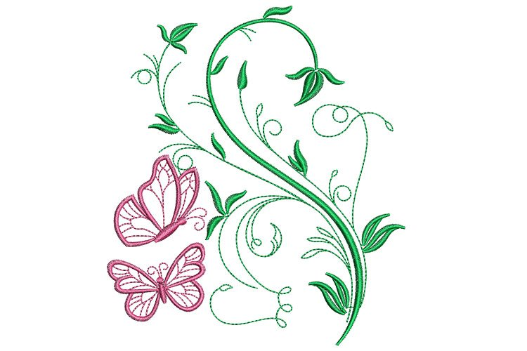 Butterfly and floral machine embroidery designs