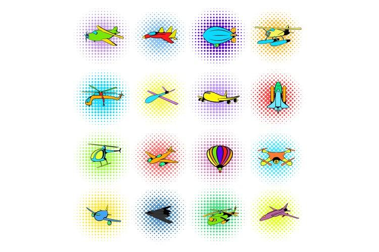 Aviation Icons Set, comics style example image 1