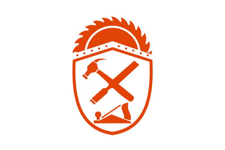 Crossed Hammer and Rasp Tools Crest Retro example image 1