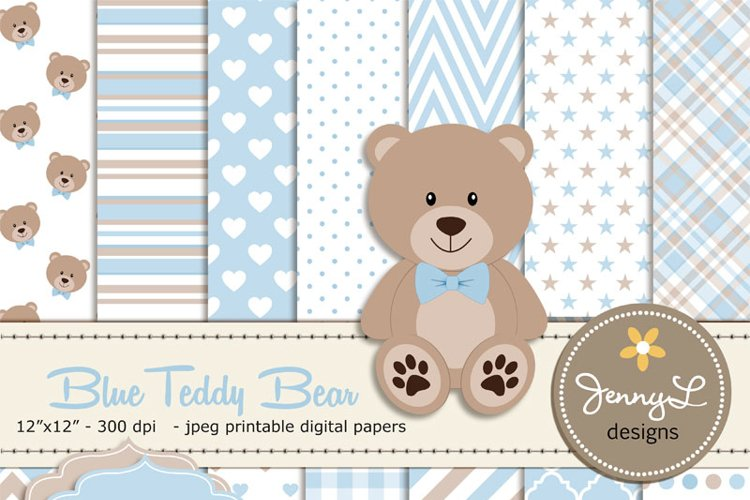 Boy Teddy Bear Digital papers and Clipart SET example image 1