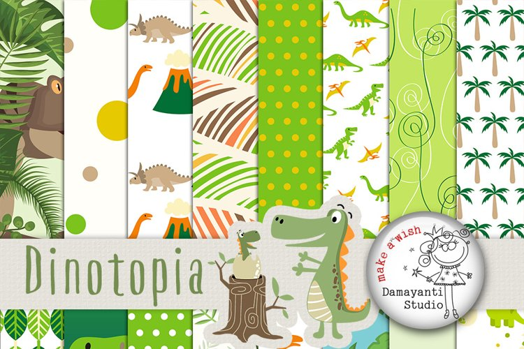 Dino Digital Scrapbooking Paper, Dinosaurus, green, jungle paper, Dinotopia paper, Craft paper, Planner sticker paper, Nature, Birthday example image 1