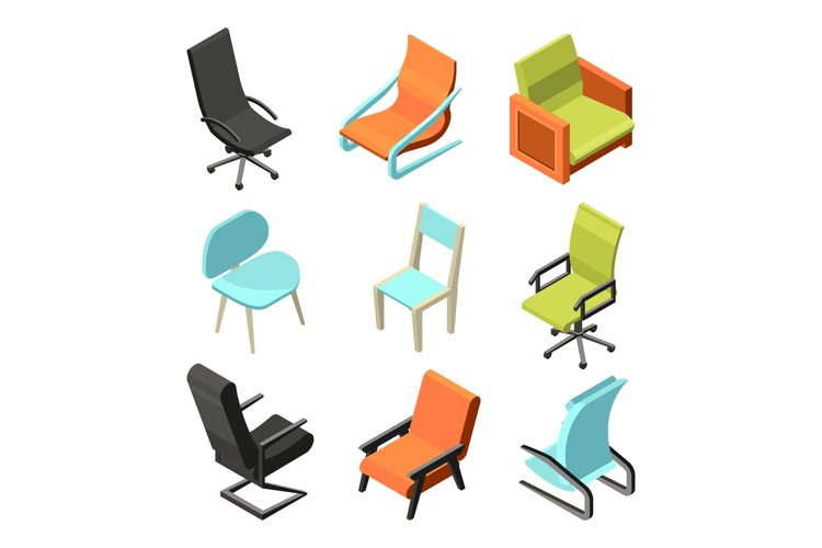 Office furniture. Different chairs and armchairs from leathe example image 1