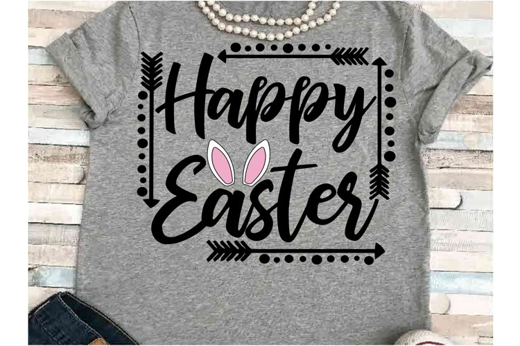 Happy Easter SVG DXF JPEG Silhouette Cameo Cricut Bunny ears example image 1