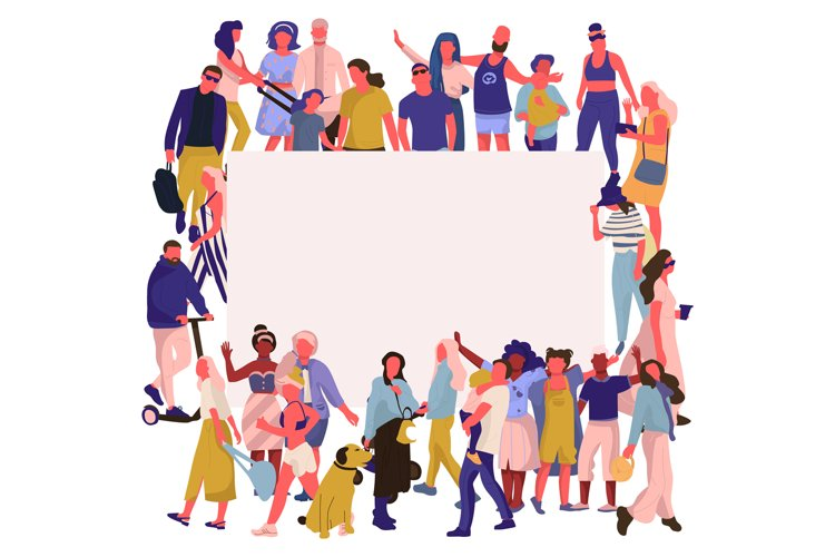Trendy people banner. Crowd of happy men and women with blan example image 1