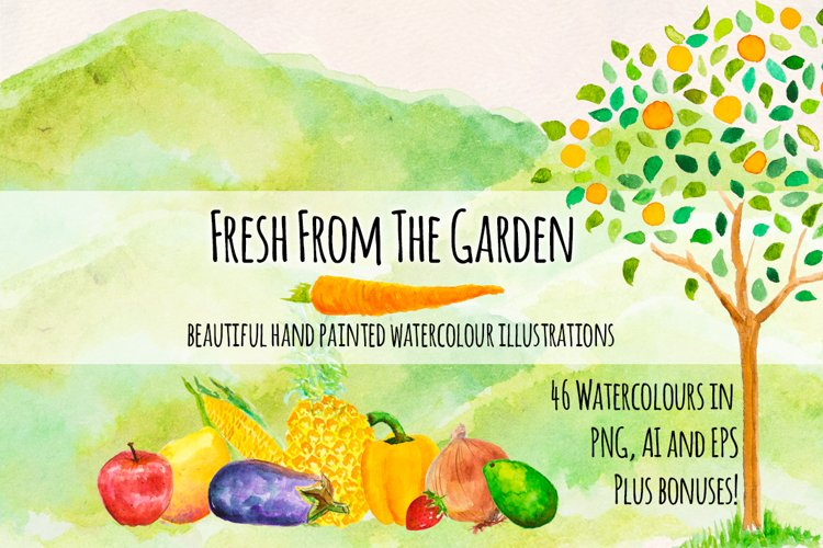 Fresh Fruits and Vegetables Watercolor Paintings Kit