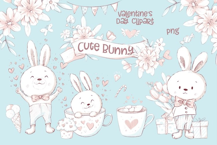 Valentines Day Clipart Cute Bunny