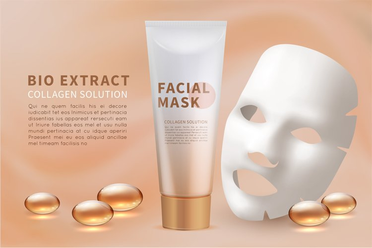 Facial mask sheet. Cosmetic skincare and natural beauty ad v example image 1