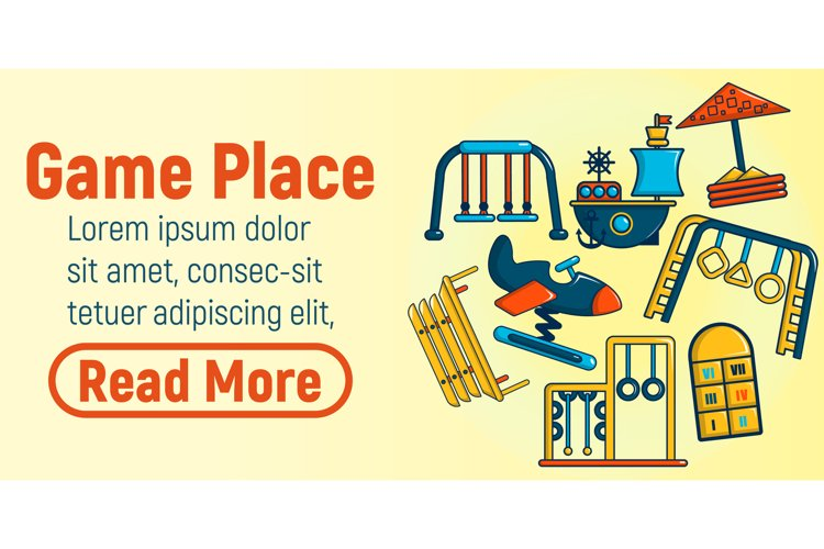 Game place concept banner, cartoon style example image 1