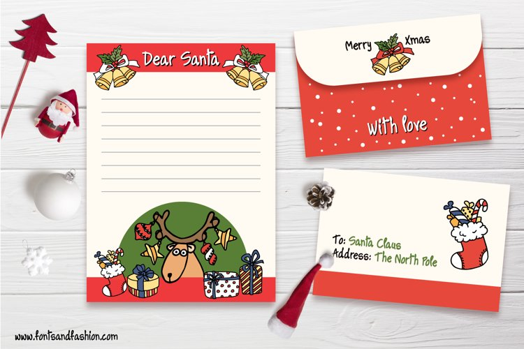 Santa Claus, Rudolph and gifts Doodle letter template example image 1