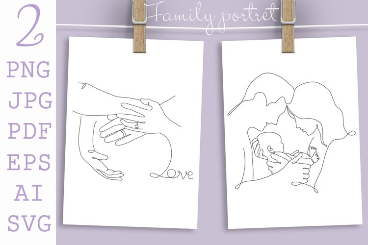 Mothers day card, Mom, Dad and New born Baby, One Line art