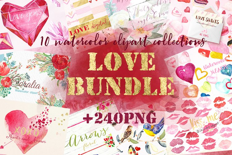 Love watercolor bundle. Valentine. example image 1
