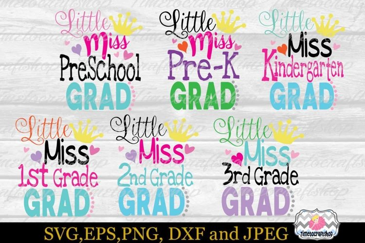 Svg Dxf Eps Png Little Miss Preschool To Pre K Graduation 95404 Svgs Design Bundles