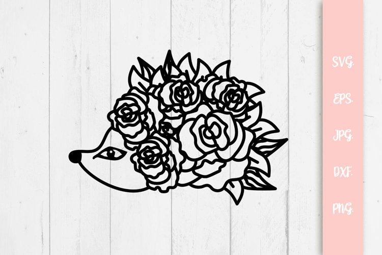 Floral Hedgehog SVG Cut File example image 1