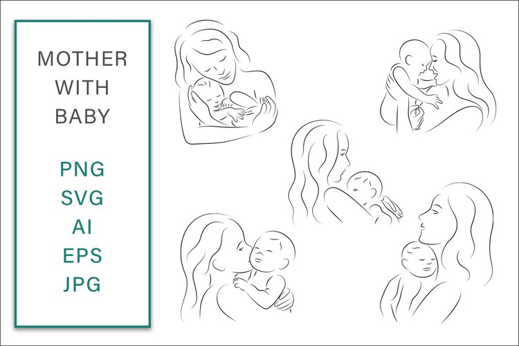Mother with Baby SVG Line Art Graphic Vector