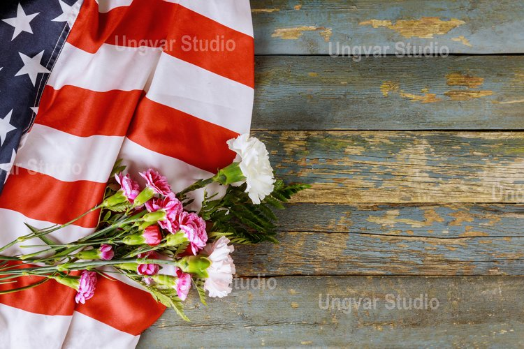 American flag on Memorial day honor respect patriotic example image 1