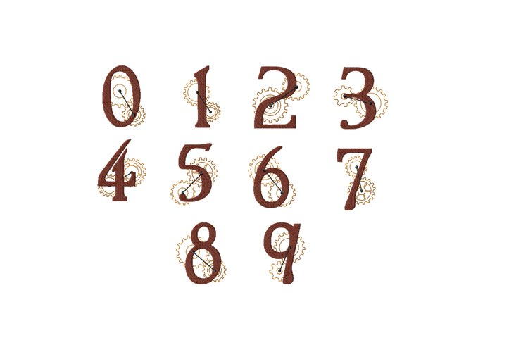 Steampunk Numbers Zero to Nine - 4 x 4 hoop Instant Download example image 1
