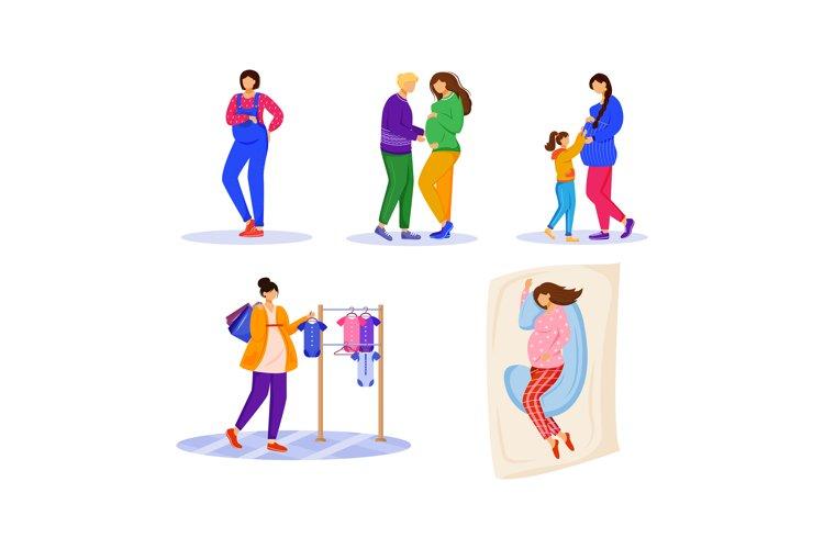 Pregnancy flat vector illustrations set