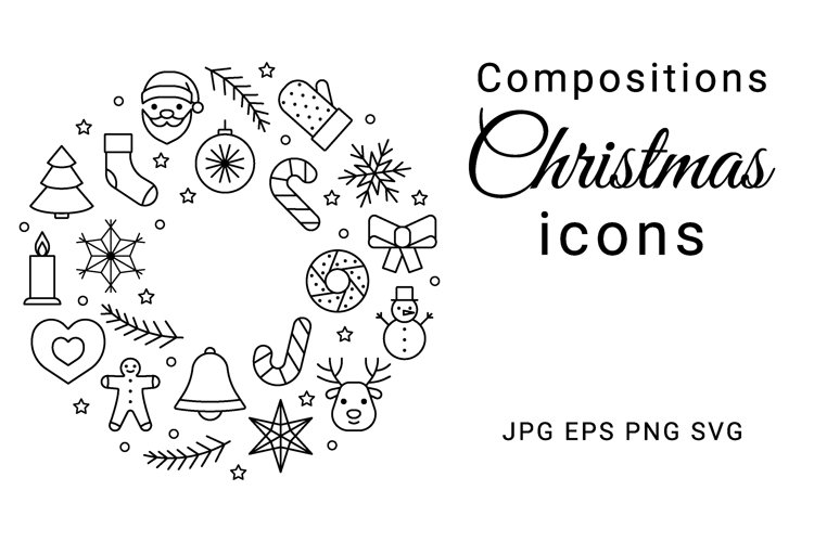 Christmas compositions from line icons. Border, wreath, ball example image 1