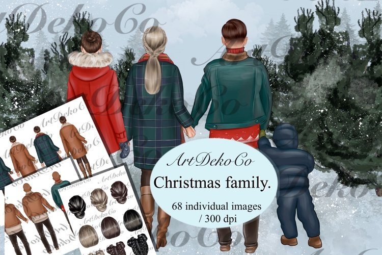"""Christmas clipart """"FAMILY CLIPART"""" Winter family Christmas example image 1"""
