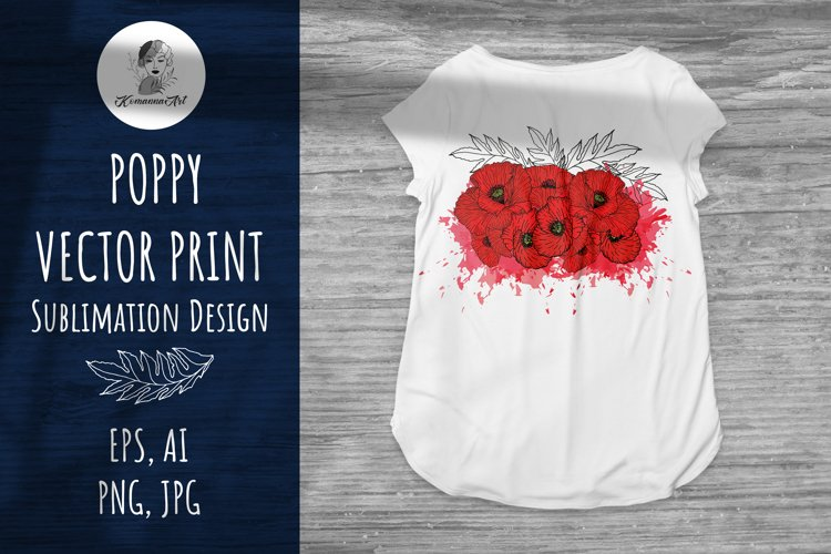 Poppy Sublimation Design - Flowers Vector Clipart example image 1