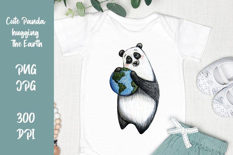 Cute panda hugging The Earth clipart. PNG, JPG