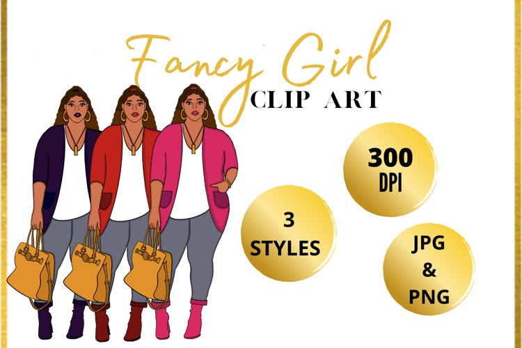 Fancy Curvy Girl Clip Art example image 1