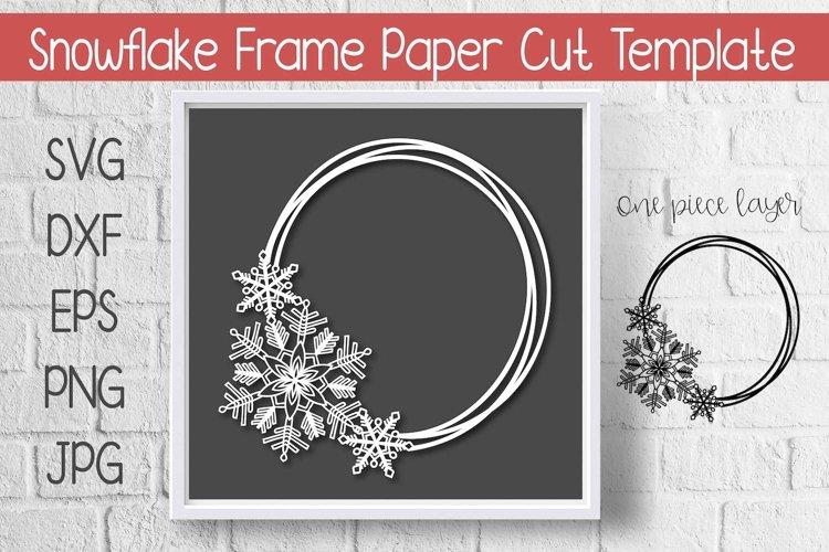Snowflake Circle Frame Paper Cut Template Design example image 1