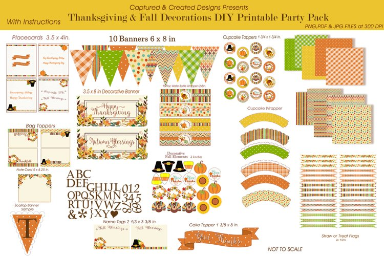 Thanksgiving & Fall Decorations DIY Printable Party Pack example image 1