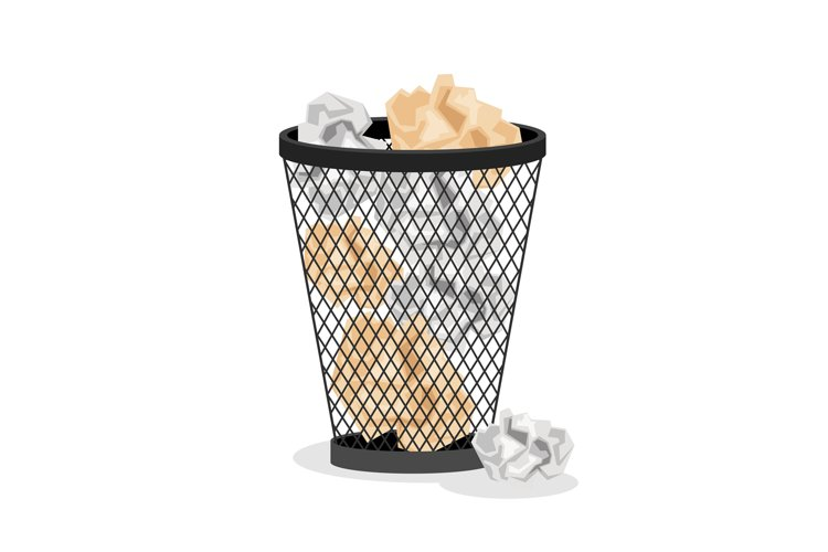 Office basket with crumpled paper example image 1