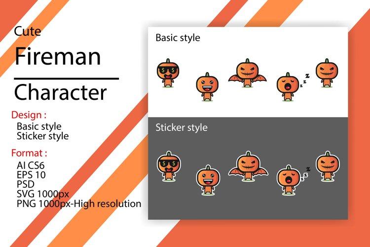 Cute character of halloween pumpkin