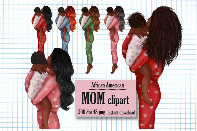African American mother clipart, Afro mom clipart