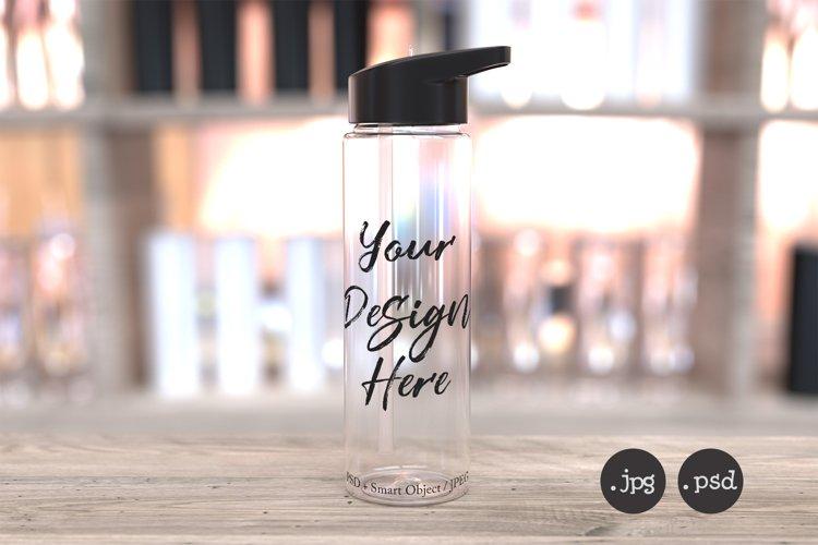24oz clear sports water bottle mockup, PSD & jpg mockup example image 1