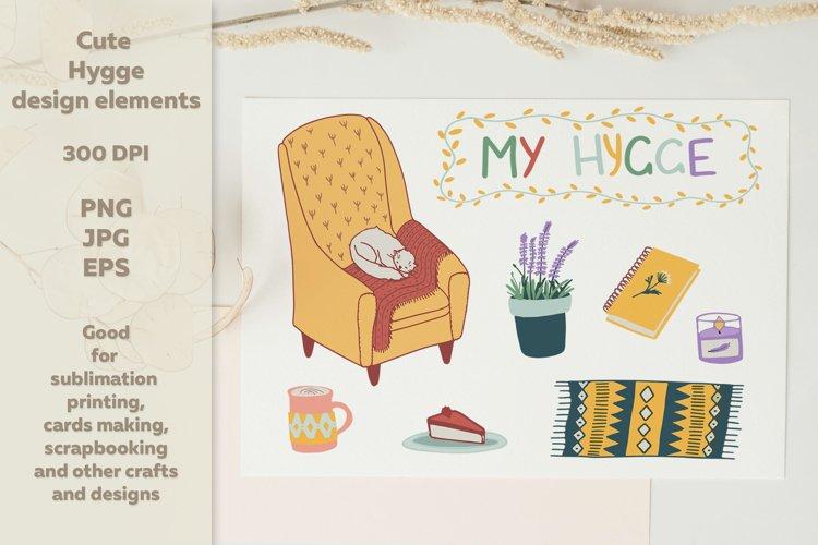 Cute Hygge Design Elements - Chair, Cat, Coffee mug, Candle Clipart