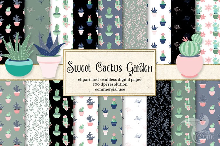 Sweet Cactus Garden Patterns and Clipart