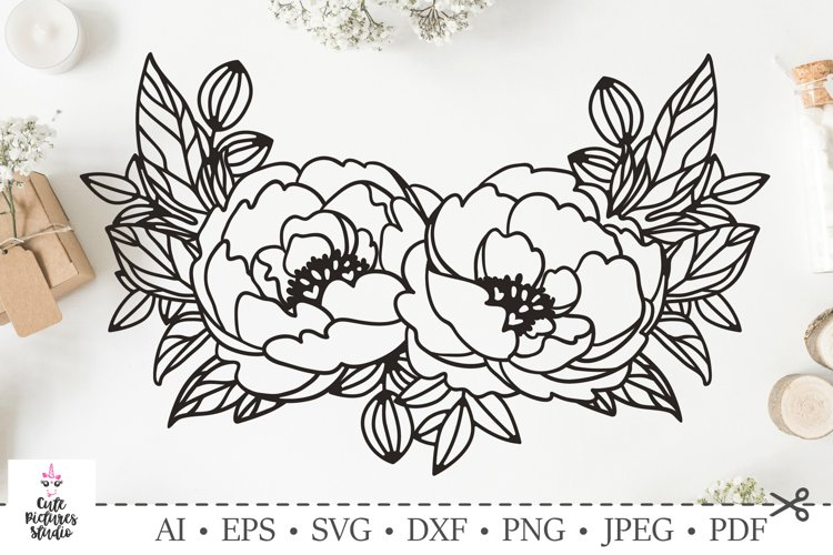 Graceful frame with peony flowers. SVG DXF cut file.