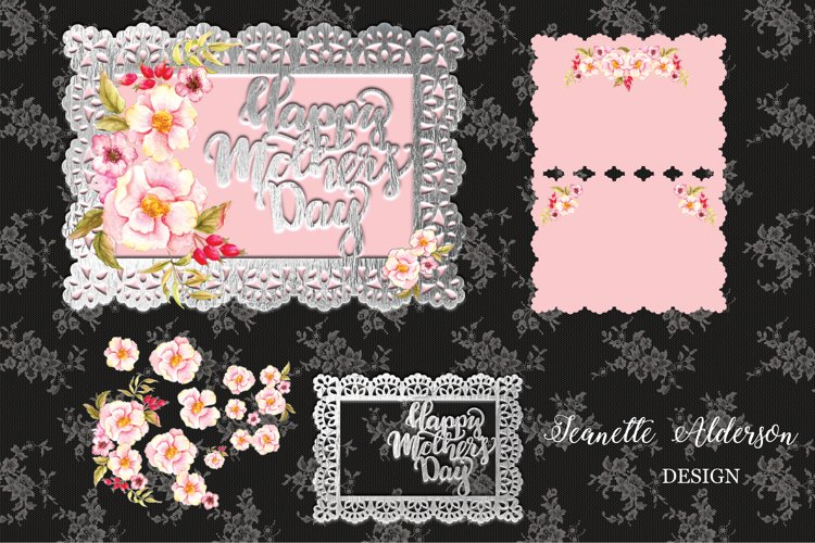 Pink watercolor roses decoupage Mothers Day Card example image 1