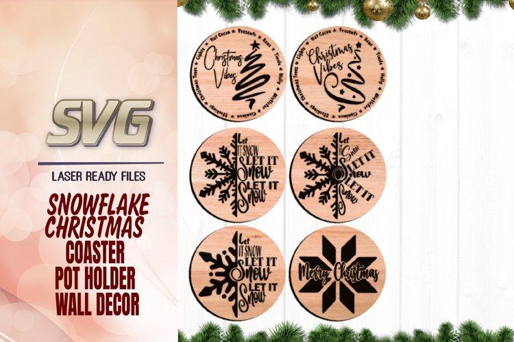Christmas Snowflake Tree Coaster Svg Glowforge Files Bundle example image 1