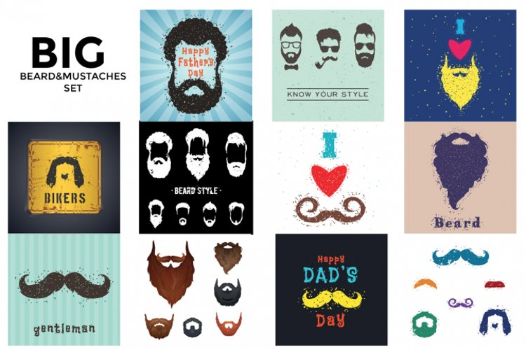 BIG beards&mustaches set in different style