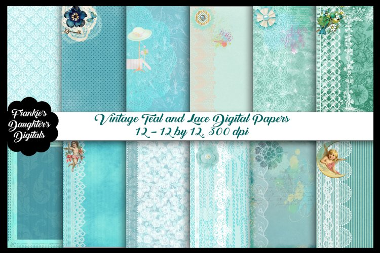 Vintage Teal & Lace Digital Papers, Shabby Chic Backgrounds example image 1