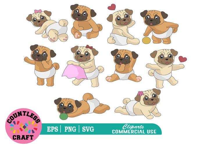 Cute Pugs clipart, Pugs clipart, Pug dog clipart, Dogs