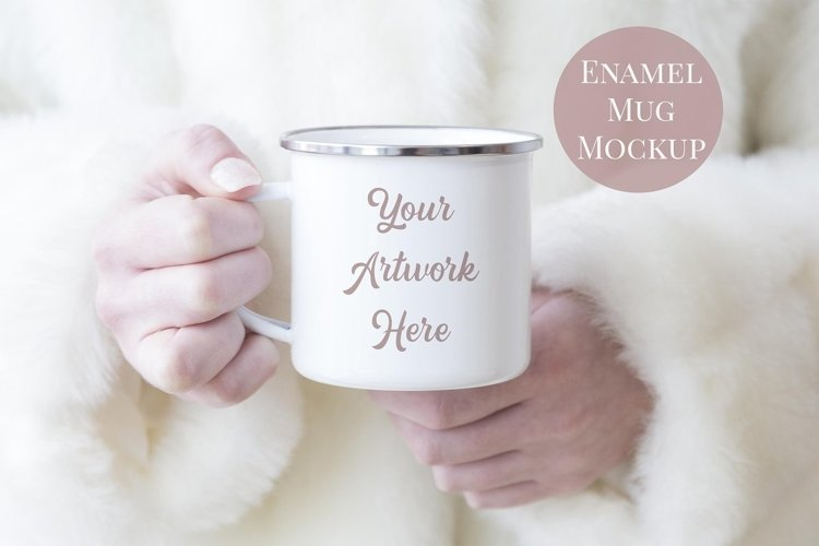 Enamel Mug Mockup - Woman holding mug