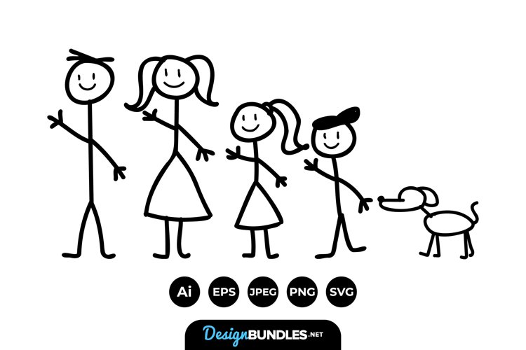 Stick Family Clipart example image 1