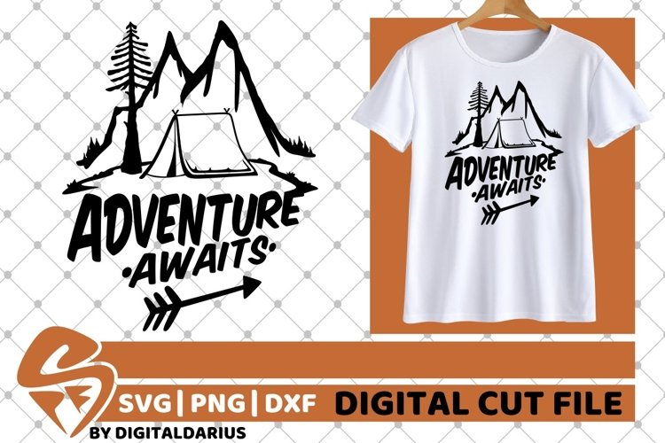 Adventure Awaits svg, Mountain svg, Camping svg, Tent svg, example image 1