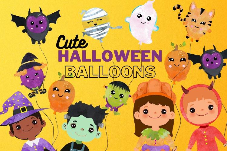Halloween Balloons clipart. Digital Halloween Balloon example image 1